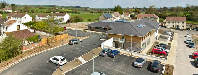 Elevated mast photography at Chewstoke Medical Practice