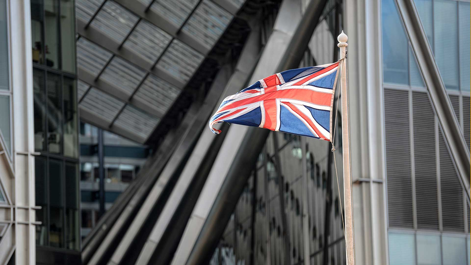 Union Jack flying at Broadgate Tower London